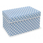 Badger Basket Blue Polka Dot Double Folding Storage Seat