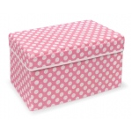 Badger Basket Pink Polka Dot Double Folding Storage Seat