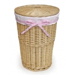 Badger Basket Natural Round Rattan Hamper with White Waffle Liner & Four Ribbons