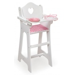 Badger Basket Doll High Chair with Plate Bib Spoon: Chevron Print