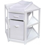 Badger Basket Diaper Corner Baby Changing Table with Hamper and Basket: White