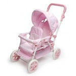 Badger Basket Folding Double Doll Front-To-Back Stroller: Pink Gingham