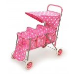 Badger Basket Triple Doll Stroller: Pink Polka Dots