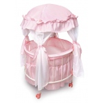 Badger Basket Royal Pavilion Round Doll Crib with Canopy and Bedding