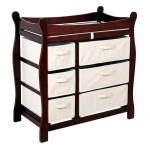 Badger Basket Sleigh Style Changing Table with Six Baskets: Cherry