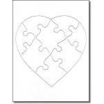 "Hygloss Blank Puzzle: 8pcs, 6""x8"", Heart Shape, 12 puzzles"