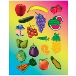 Hygloss Sticker Forms - Fruits & Vegetables - 25 sheets
