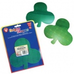 "Hygloss Shamrocks - 10 ct., 6"" Holographic Board, 4 Asst'd Green Designs"