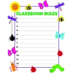 "Hygloss Classroom Poster - 17""x22"" - Classroom Rules with Bugs"