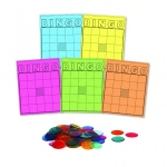 Hygloss Bingo Card and Counters Set - 1000 chips and 50 Bingo colored cards