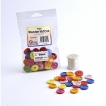 Hygloss Bright Wooden Buttons - Asst'd Colors, 60 ct., 30 mm