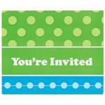 Birthday Express Blue and Green Invitations (8)