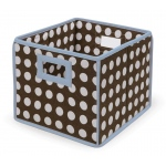 Badger Basket Folding Basket Storage Cube: Blue Trim and Brown Polka Dot