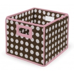 Badger Basket Folding Basket Storage Cube: Pink Trim and Brown Polka Dot