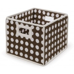 Badger Basket Folding Basket Storage Cube: Brown Polka Dot