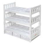 Badger Basket 1-2-3 Convertible Doll Bunk Bed with Storage Baskets: White Rose